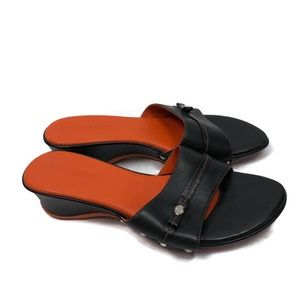 Harley Davidson Black Leather Sandals/Orange Sole